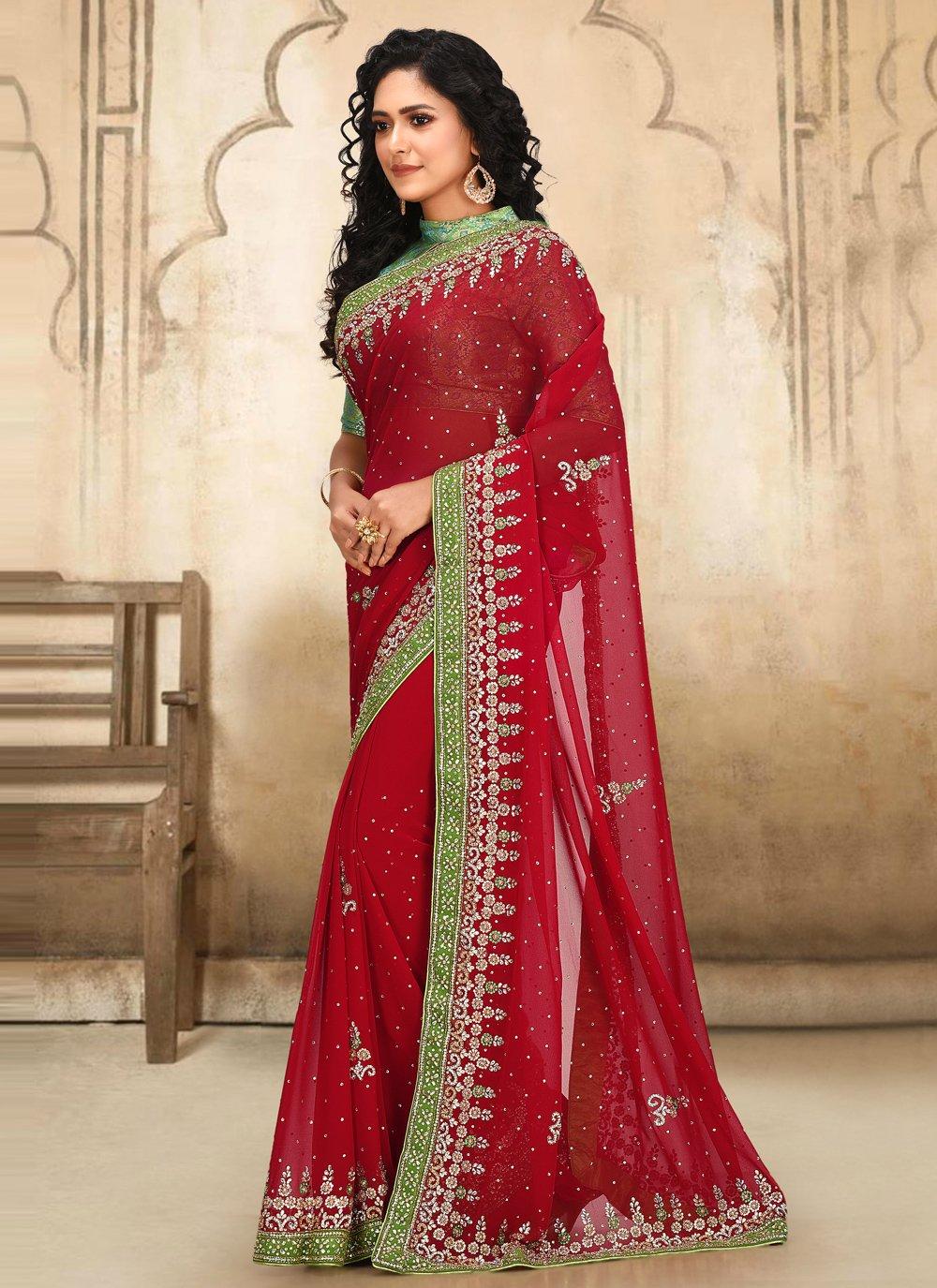 Red Georgette Classic Designer Saree