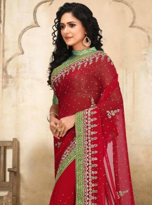 Red Georgette Classic Designer Saree