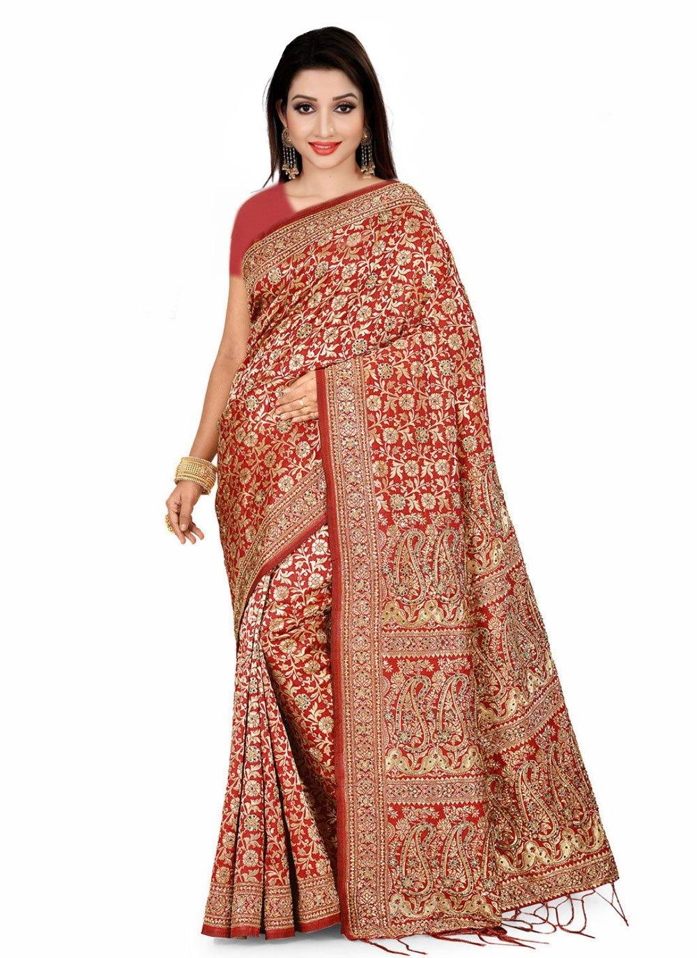 Red Handwork Fancy Fabric Designer Saree