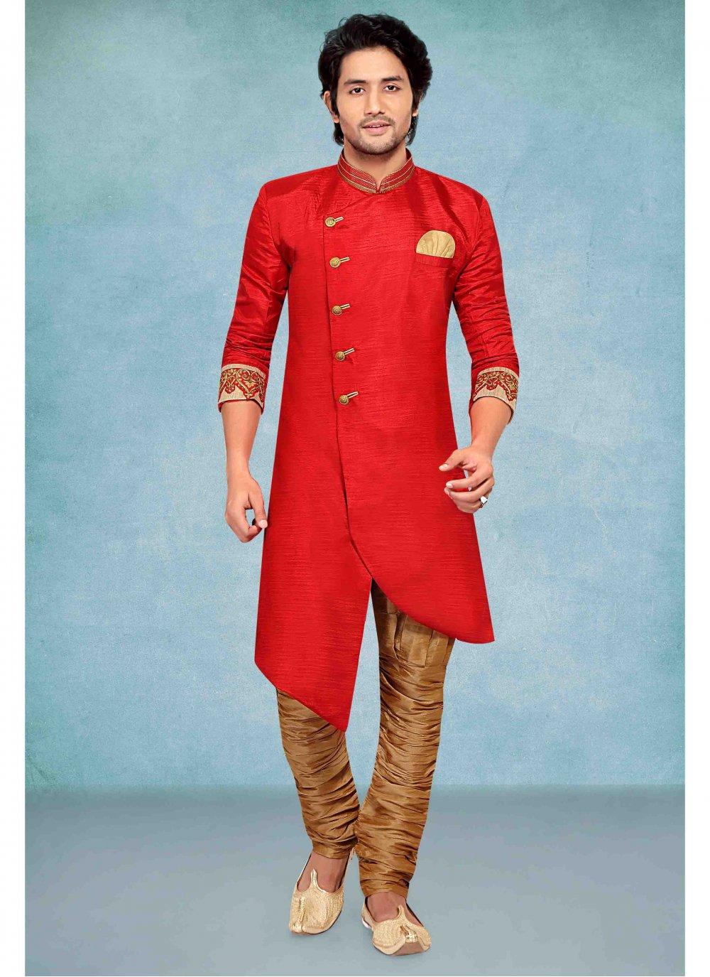Red Jacquard Embroidered Kurta Pyjama