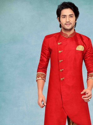 Red Jacquard Embroidered Kurta Pyjama
