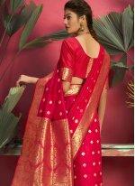 Red Jacquard Silk Traditional Designer Saree