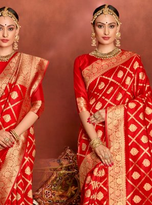 Red Jacquard Silk Weaving Traditional Saree