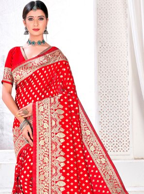Red Jacquard Silk Woven Traditional Designer Saree