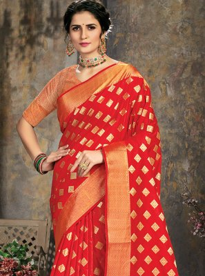 Red Jacquard Work Mehndi Trendy Saree
