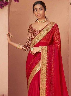 Red Lace Classic Designer Saree