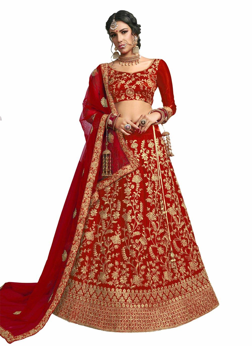 Red Lace Satin Silk A Line Lehenga Choli