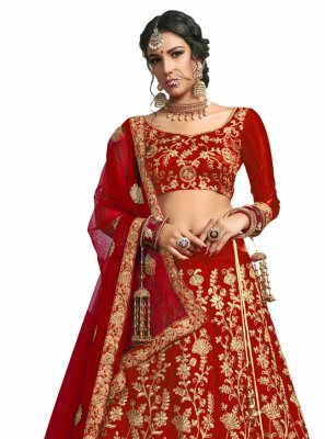 Red Lace Satin Silk A Line Lehenga Choli