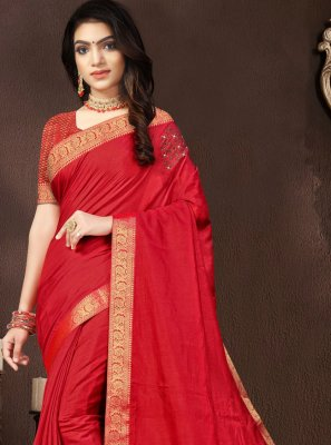 Red Lace Traditional Saree