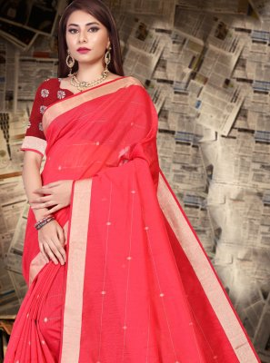 Red Linen Designer Saree