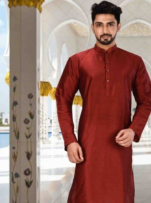 Red Machine Embroidery  Kurta Pyjama