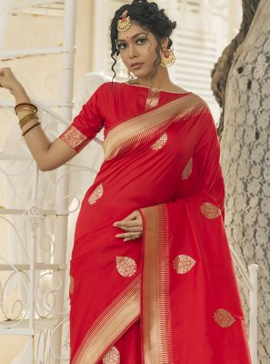 Red Mehndi Designer Traditional Saree