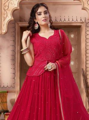 Red Mehndi Readymade Lehenga Choli