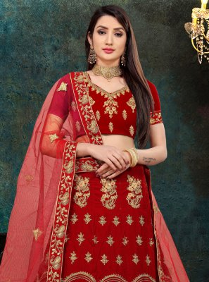 Red Mehndi Velvet Lehenga Choli