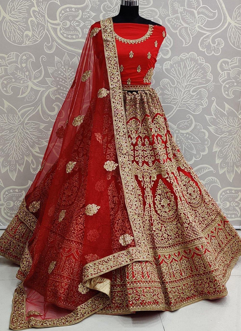 Red Net Bridal Bollywood Lehenga Choli