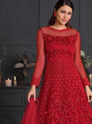 Red Net Designer Salwar Suit