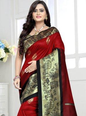 Red Party Banarasi Silk Bollywood Saree
