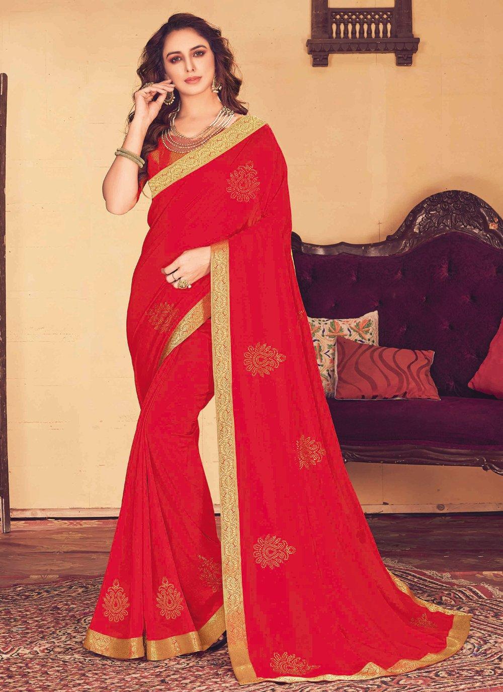 Red Patch Border Classic Designer Saree