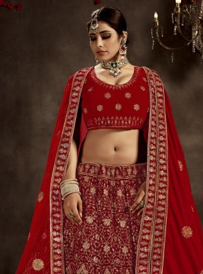 Red Patch Border Velvet A Line Lehenga Choli