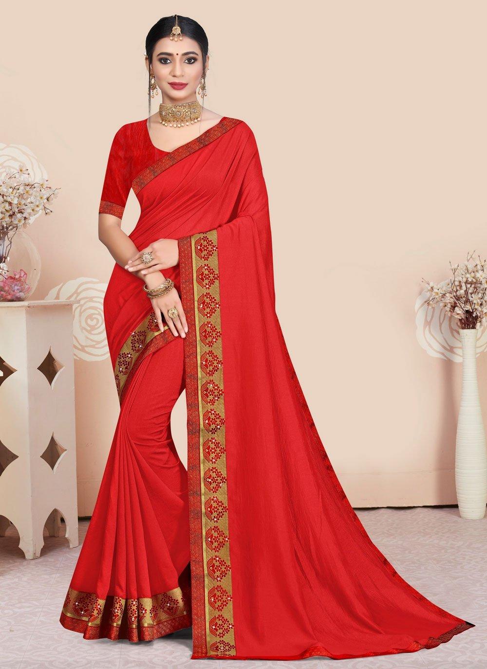 Red Patch Border Vichitra Silk Traditional Saree