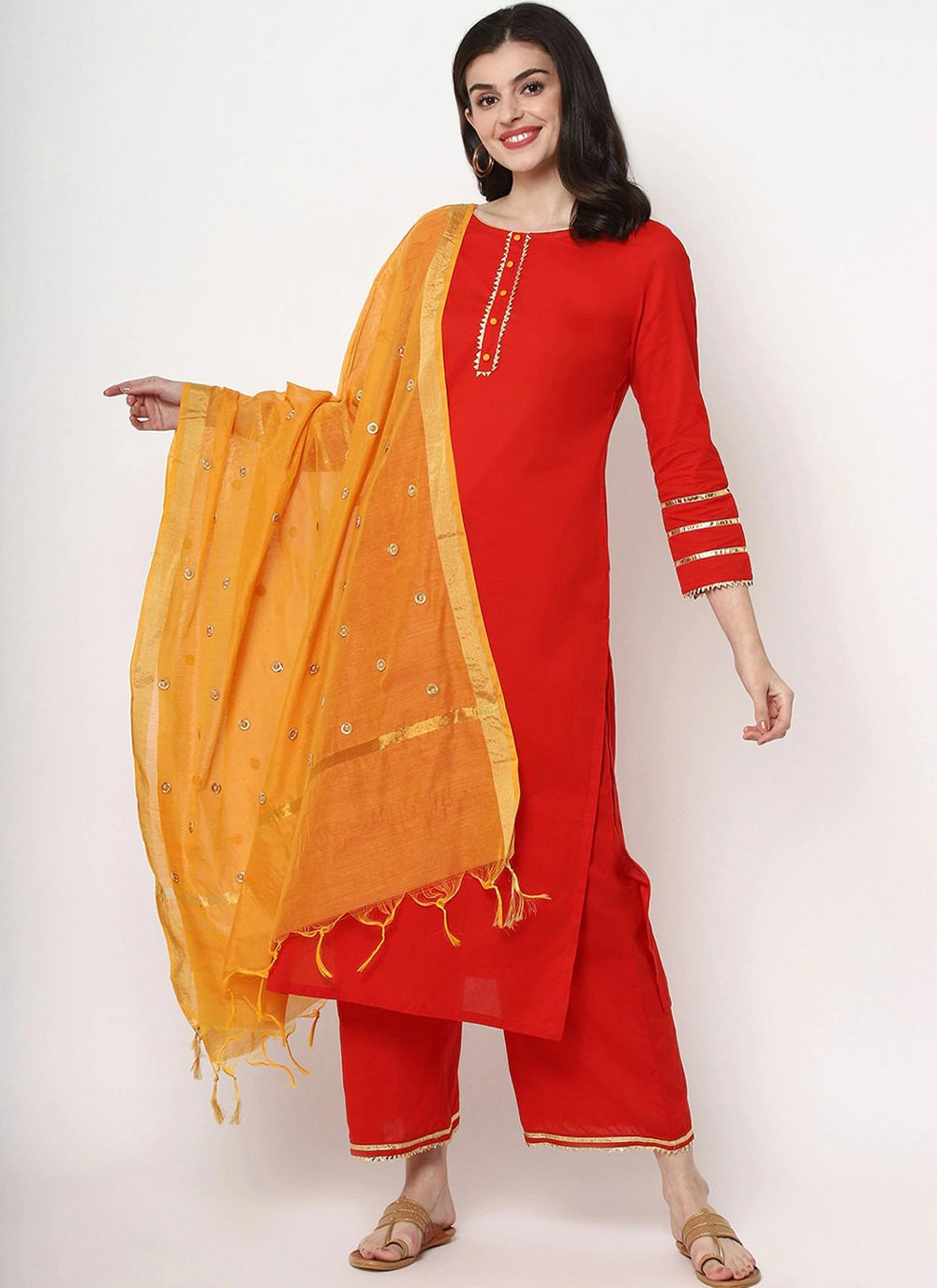 Red Plain Cotton Designer Salwar Suit