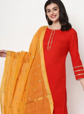 Red Plain Cotton Designer Salwar Suit