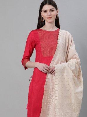 Red Poly Silk Festival Pakistani Salwar Suit