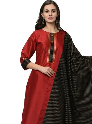 Red Poly Silk Print Readymade Suit