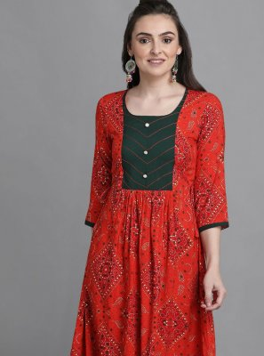 Red Print Festival Party Wear Kurti