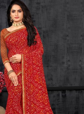 Red Print Party Classic Saree
