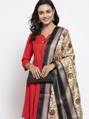 Red Print Rayon Readymade Suit