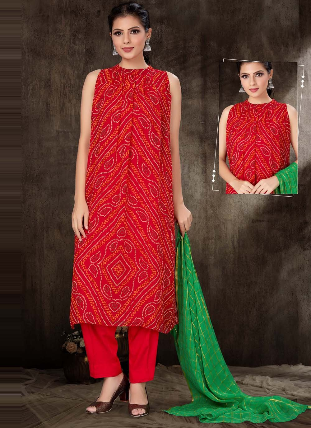 Red Print Readymade Suit