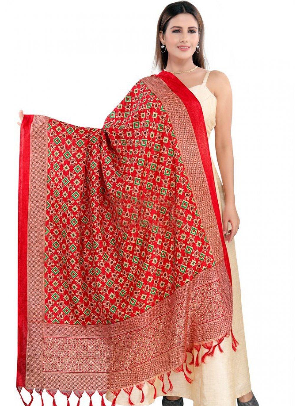 Red Printed Art Silk Designer Dupatta