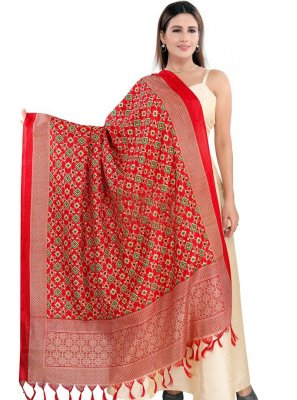 Red Printed Art Silk Designer Dupatta