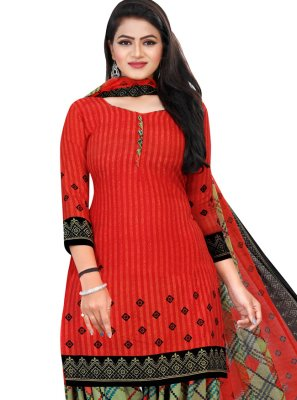 Red Printed Casual Patiala Suit