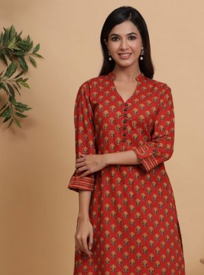 Red Printed Cotton Party Wear Kurti