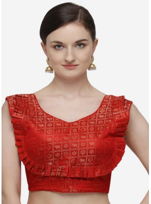 Red Printed Jacquard Designer Blouse