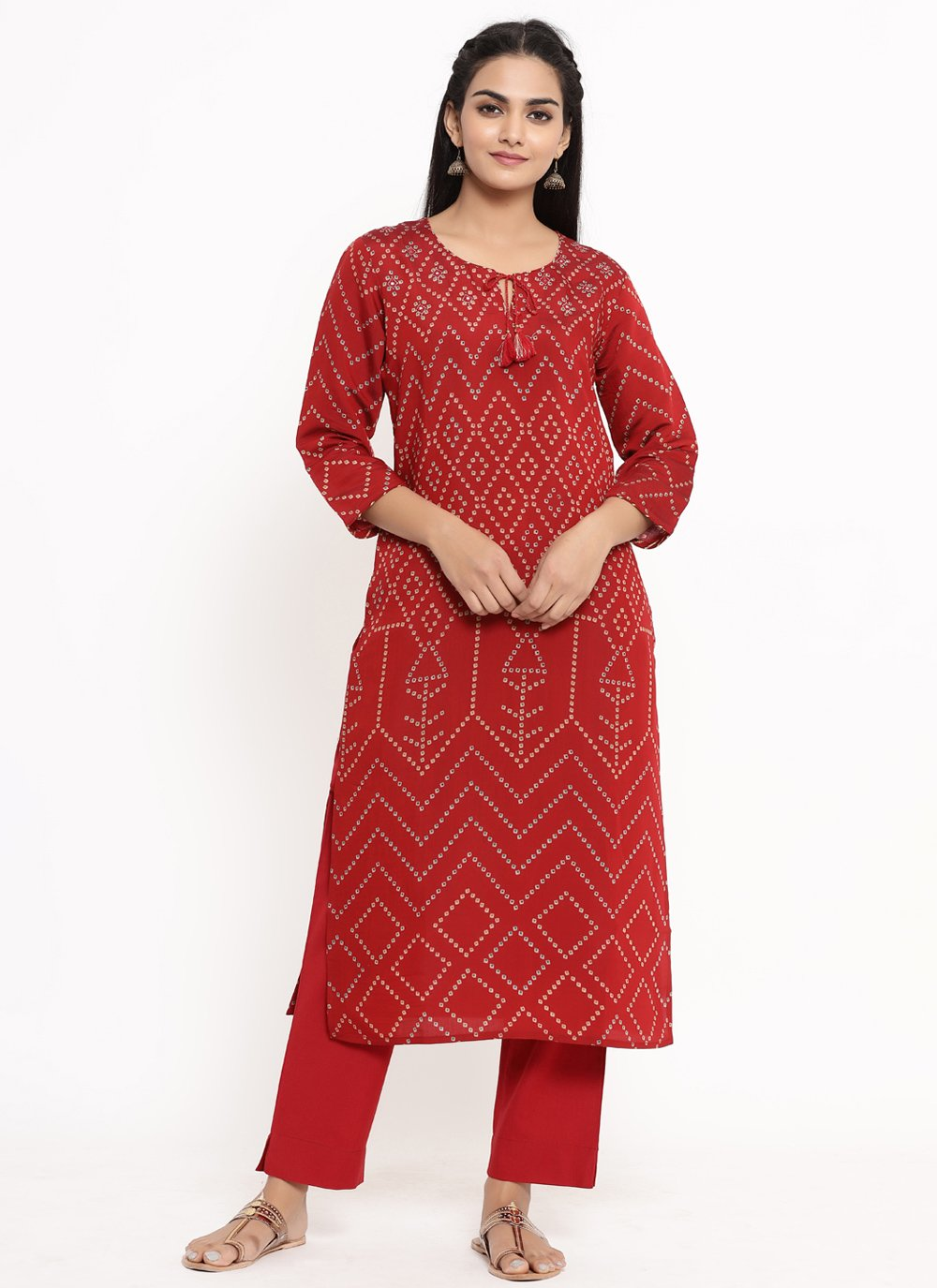 Red Rayon Print Party Wear Kurti