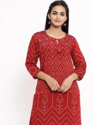 Red Rayon Print Party Wear Kurti