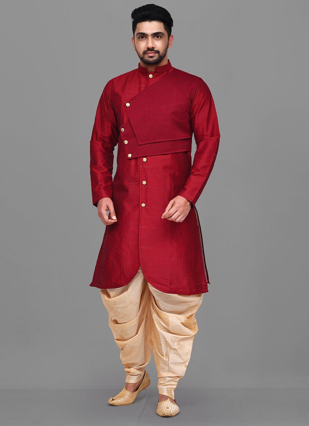 Red Reception Dhoti Kurta