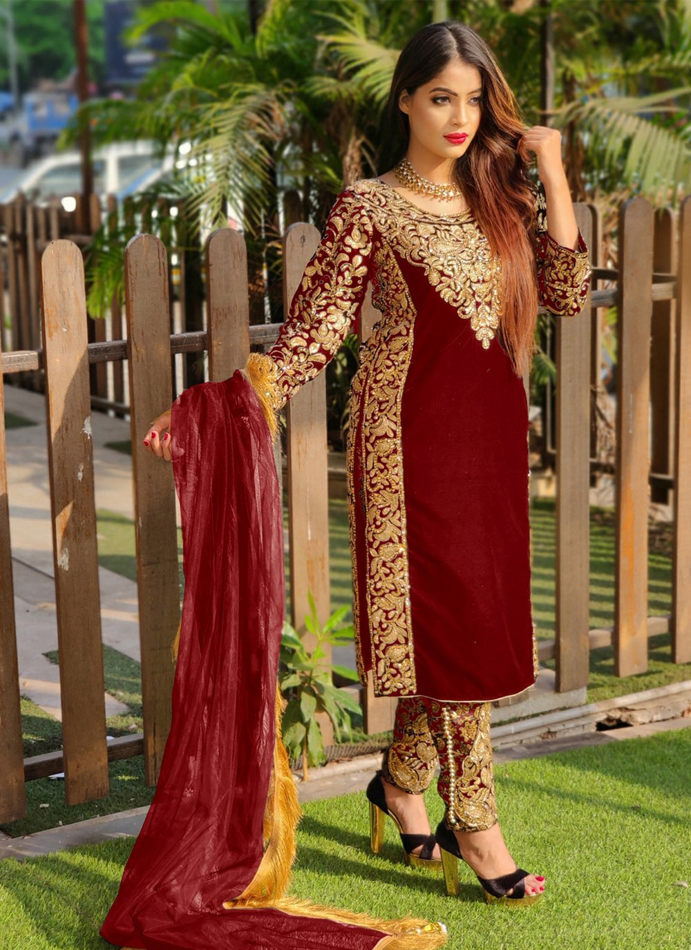 Red Resham Ceremonial Pant Style Suit