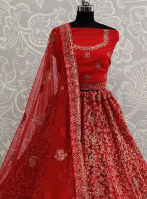 Red Resham Net A Line Lehenga Choli