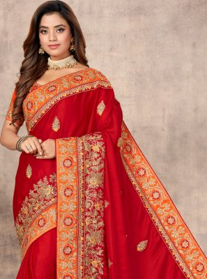 Red Resham Satin Classic Designer Saree