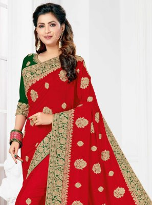 Red Resham Silk Designer Traditional Saree