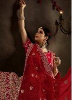 Red Resham Velvet A Line Lehenga Choli