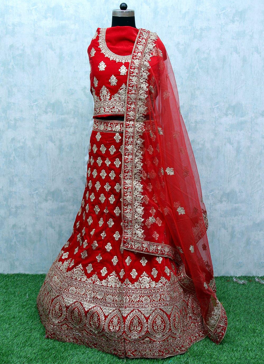 Red Resham Velvet Lehenga Choli