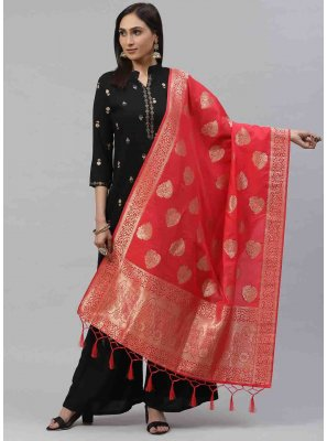 Red Sangeet Art Silk Designer Dupatta