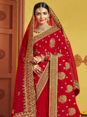 Red Sangeet Art Silk Traditional Designer Saree