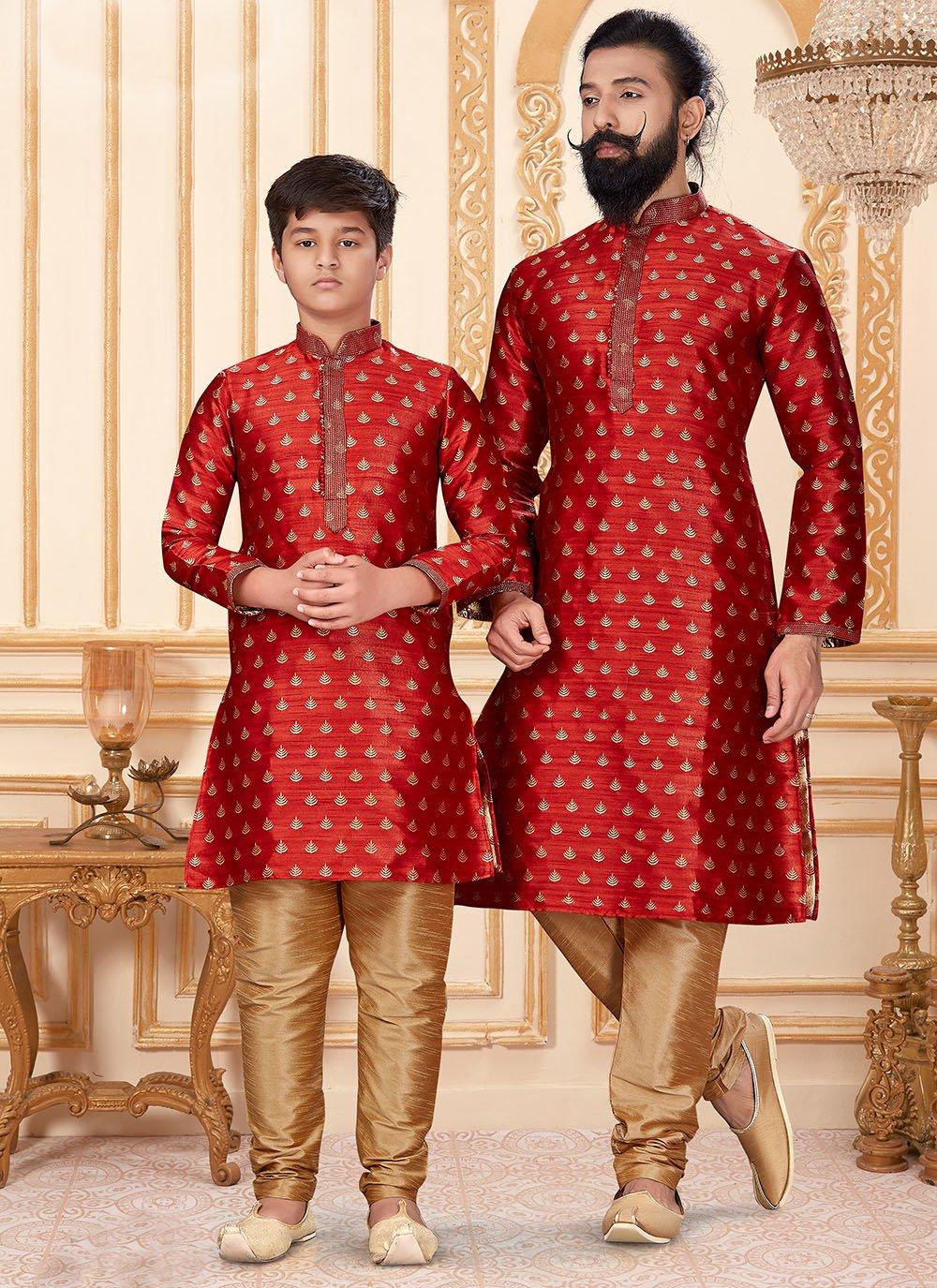 Red Sangeet Jacquard Silk Kurta Pyjama