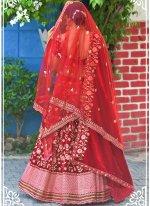 Red Sangeet Velvet Lehenga Choli
